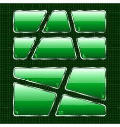 Set of green plates on abstract background vector image