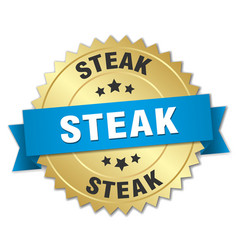 Steak 3d gold badge with blue ribbon vector