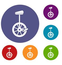 Unicycle icons set vector