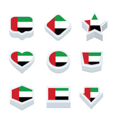 united arab emirates flags icons and button set vector image