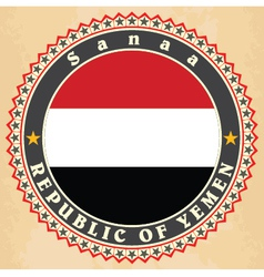 Vintage label cards of yemen flag vector