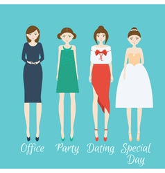 Woman character set in different clothes style vector