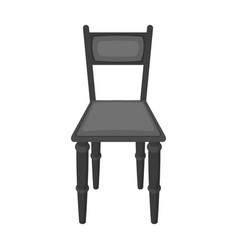 Wooden chair icon in monochrome style isolated on vector