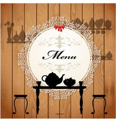 wooden menu vector image