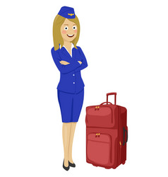 young beautiful air hostess with suitcase vector image