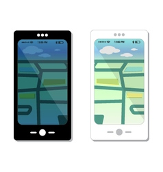 Smartphone templates and map design elements vector image