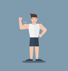 Gym fitness muscular cartoon man show biceps flat vector