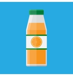 Glass bottle of orange juice and fruit on sticker vector