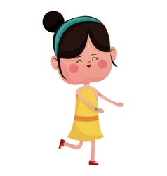 Cute girl jump cheerful closed eyes vector