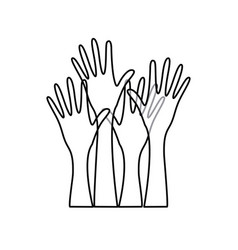 Sketch silhouette set hands raised icon vector
