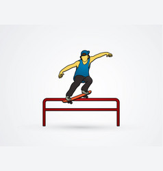 Skateboarder doing a grind on rail graphic vector