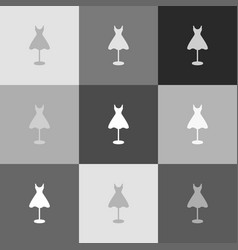 Mannequin with dress sign  grayscale vector