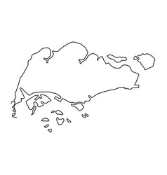 The singapore map of black contour curves vector