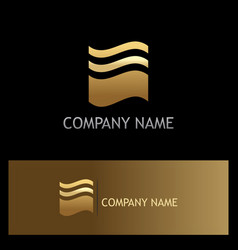 wave line abstract gold logo vector image