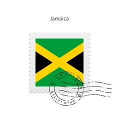 Jamaica flag postage stamp vector