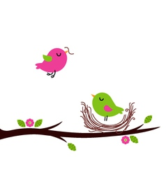 Cute spring nesting birds isolated on white vector