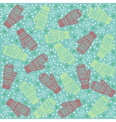 Christmas background mittens vector