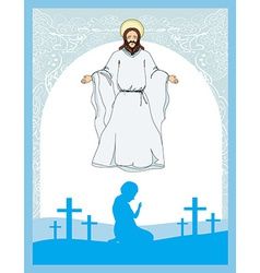 Man prays to jesus vector
