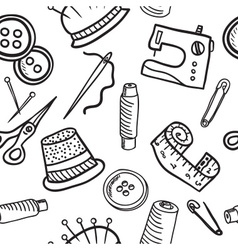 Sewing seamless pattern - hand drawn vector image