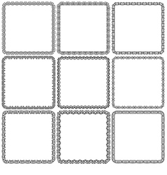 Set nine square ornamental frames black on a white vector
