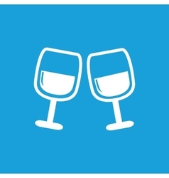 2 wine glasses icon white vector