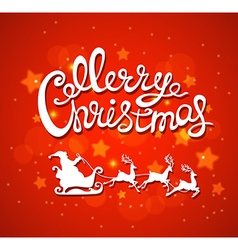 Red christmas background with santa claus vector