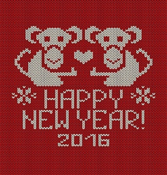 New year knitted pattern card with monkey vector