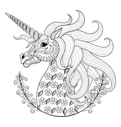 Hand drawing unicorn for adult anti stress vector