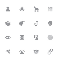 Gray simple flat icon set 7 vector