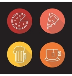 Pizza flat linear icons set vector