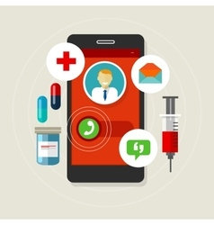 Health caal doctor medication mobile phone vector