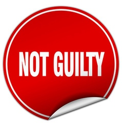 Not guilty round red sticker isolated on white vector