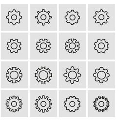 Line gear icon set vector