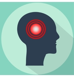 Headache pain in shape of human head vector