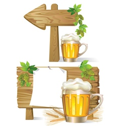 Beer wooden board sign vector
