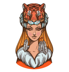 A woman with a tiger mask beautiful girl in a hat vector