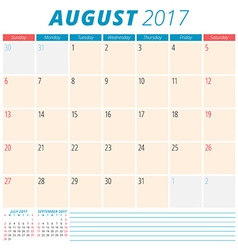 August 2017 calendar planner for 2017 year week vector