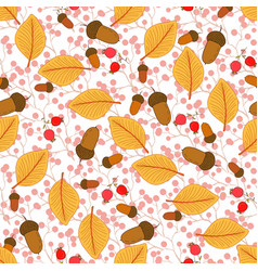 Autumn seamless pattern with autumn leaves and vector