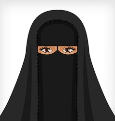 Beautiful muslim woman in black niqab vector image vector image