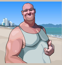 cartoon happy male big guy shows an approving vector image