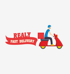 Fast delivery with man courier vector