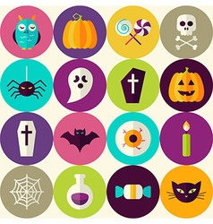 Flat Halloween Trick or Treat Seamless Pattern vector image