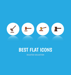 Flat icon court set of defense tribunal vector