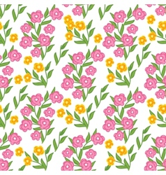 Floral seamless pattern with pink and yellow vector image
