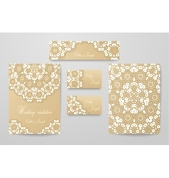 Gold wedding identity template design collection vector image