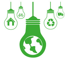 Green silhouette with bulb lights with recycling vector