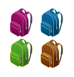 Isometric school bag Isolated on white background vector image vector image