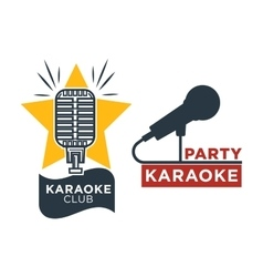 Karaoke club and bar labels or logotype vector image