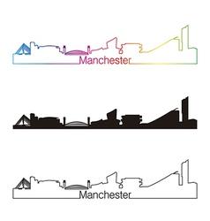 Manchester skyline linear style with rainbow vector