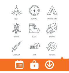 park fishing float and hiking boots icons vector image vector image